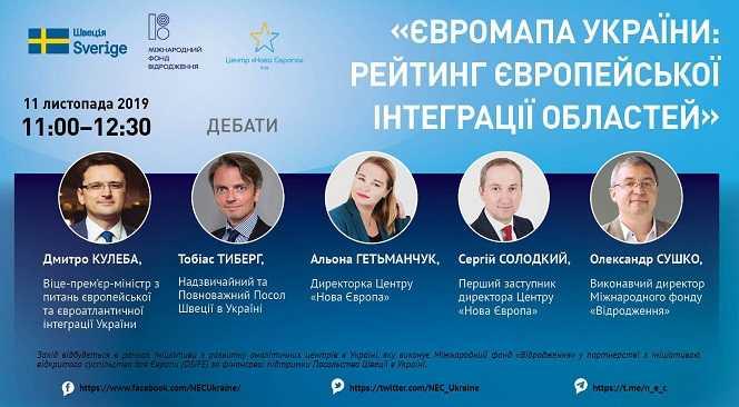 Результати досліднення «Євромапа України: рейтинг європейської інтеграції областей»